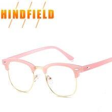 1b70febb2 Rosa da forma Das Mulheres Óculos de Armação Óculos Quadros Meia  Transparente Claro Vintage Espetáculo Óptico Óculos Míope Óculo.