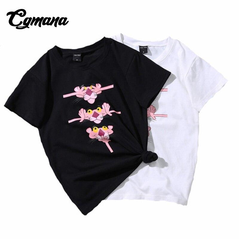 CGmana Hot Sale T Shirt Female 2018 Cartoon Pink Panther Printed T shirt Funny T-shirt Sum