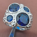 Huge Design Blue Cubic Zirconia Stamped  Silver For Women Jewelry Rings Free Shipping Size 6 7 8 9 SA003
