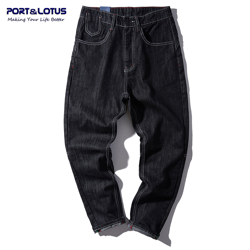 PORT&LOTUS Jeans Men Slim Cross-pants Men Jeans Cotton Brand Clothing Solid Black Long Pants Men's Jeans YP021 5137