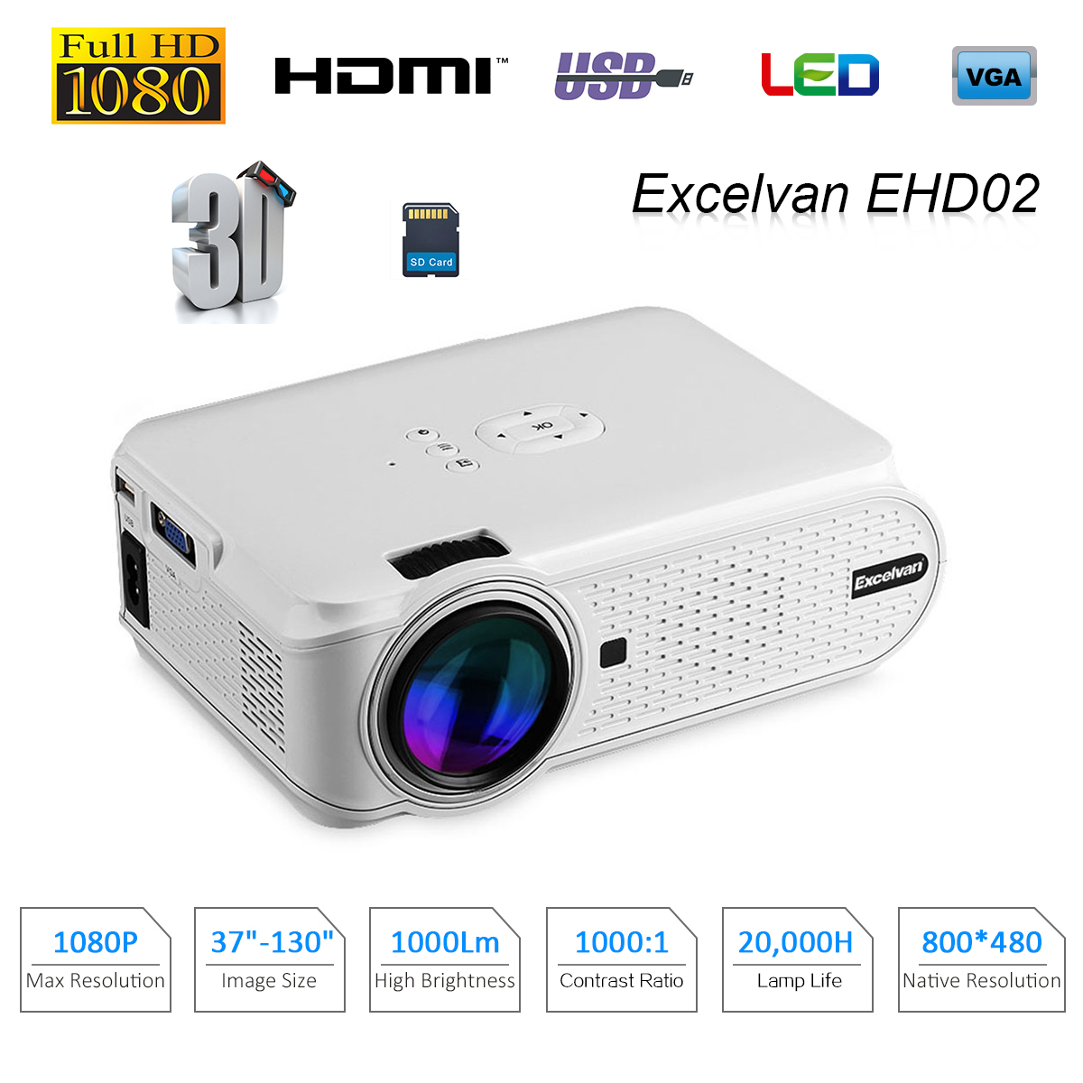 Excelvan EHD02 Portable Mini LED Multimedia Projector 800*480 Support 1080p ATV For Home Cinema Theater With Stereo Speaker Проектор