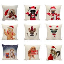 цена на Celebrate Christmas Dogs Cushion Covers Maltese Dog Beagle Bulldog Linen Pillowcase Living Room Christmas Sofa Bedling Decor