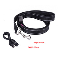Solar USB Reflective Pet Traction Rope Dog Lead Leash LED Light Up Dog Leash