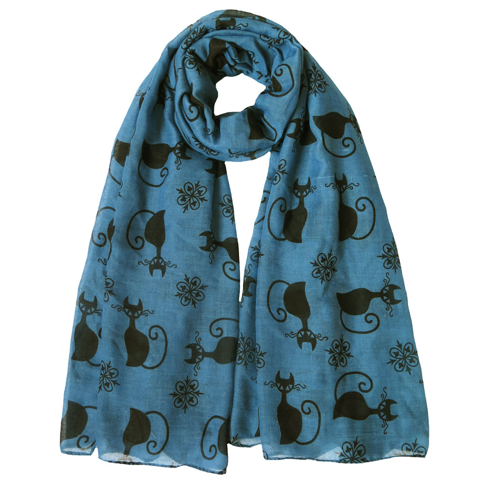 Black Cat Kitten Print Scarf blue