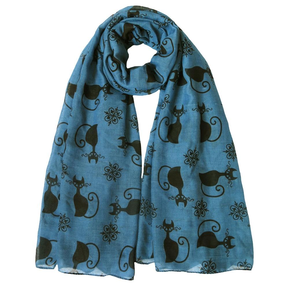Black Cat Kitten Print Scarf blue