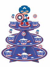 1 set Captain America Avengers birthday baby shower party cardboard cupcake stand hold 24 cupcakes party decoration