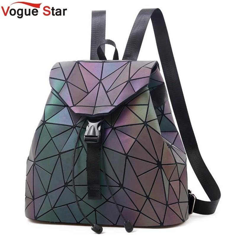 Women Backpack Geometric Plaid Sequin Female Backpacks For Teenage Girls Bagpack Holographic Drawstring School Bag LB952