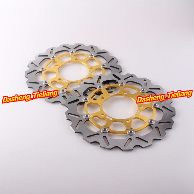 Front Brake Disc Rotors For Suzuki 2006-2007 GSXR 600 750 & 2005-2008 GSXR 1000 Motorcycle Parts Accessories Gold new brand motorcycle accessories gold front brake discs rotor for suzuki gsxr1000 2005 2006 2007 2008