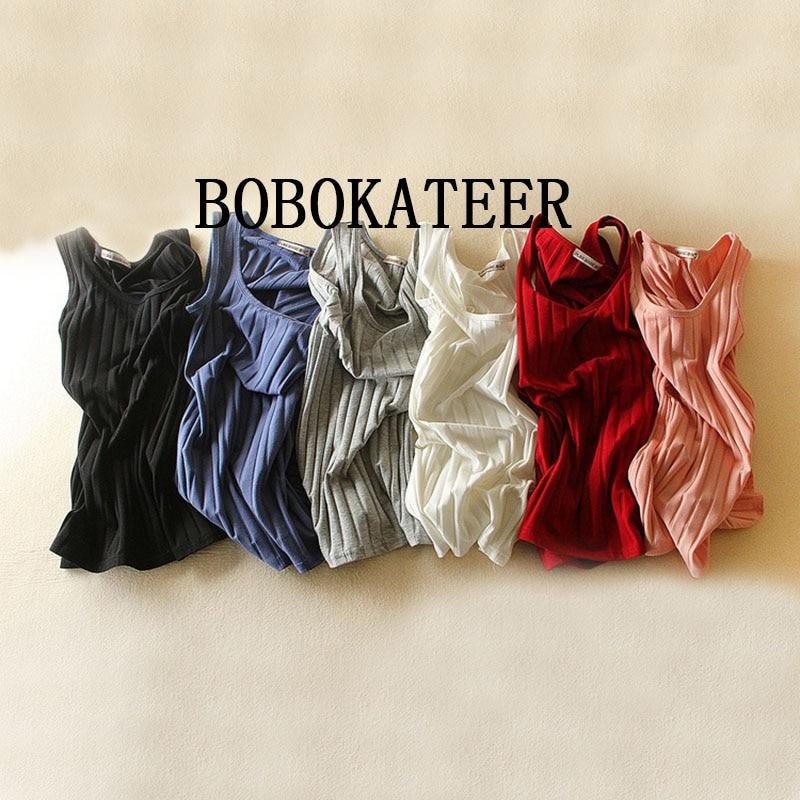 BOBOKATEER 2018 blusa cropped feminino sexy slim tank top women sleeveless crop top halter white black bustier summer crop tops