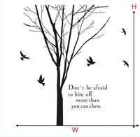 Tree Branch BIRDS wall stickers wall quotes Decal Removable Home Kids Nursery Artistic Design Wallpaper Removable Mural SA366