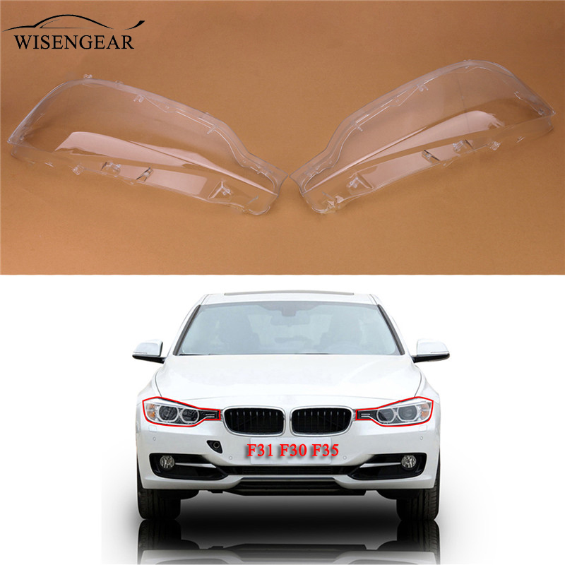 WISENGEAR Clear Right Left Headlight Lenses Lens Shell Covers For BMW F35 F30 F31 2002-2005 320i 328d 328i Car Light Lampshade / oom control for eng lenses