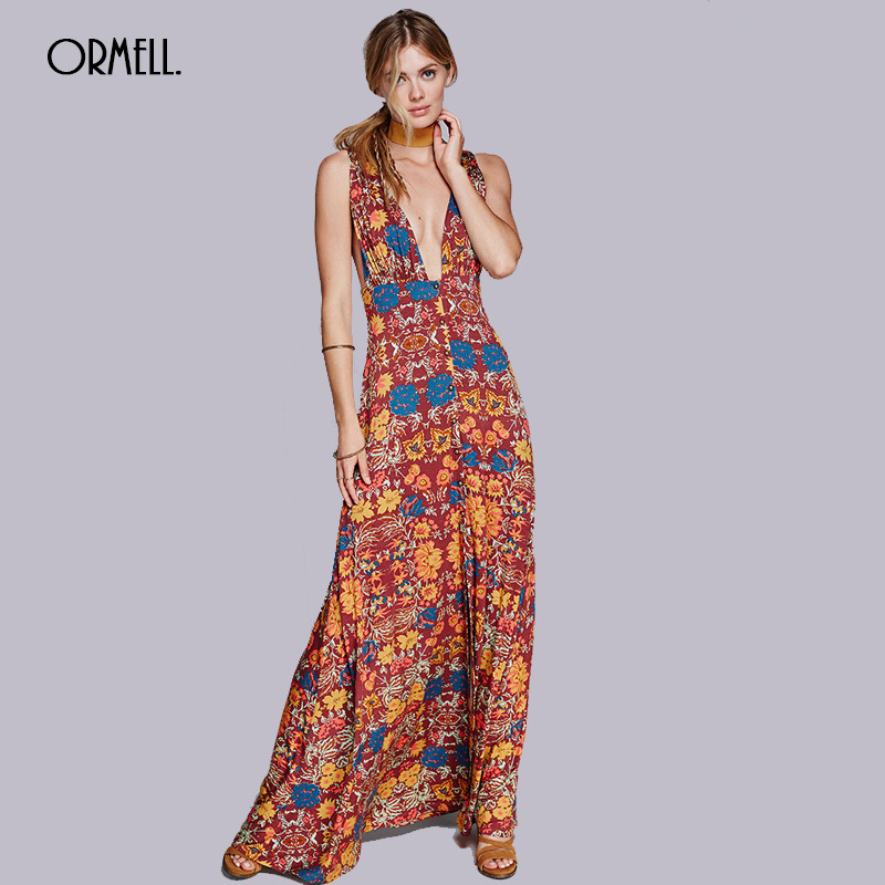 ORMELL 2017 Summer Boho Maxi Dress Sexy Sleeveless Women Deep V-neck Dresses Floral Print A-line Female Long Vintage Vestidos