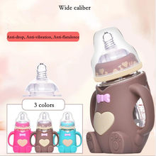 Infant Baby Cute Feeding Glass Bottle Safe Silicone Milk Bottle With Handle Soft Mouth Newborn Drink Training Feeding Bottle(China)