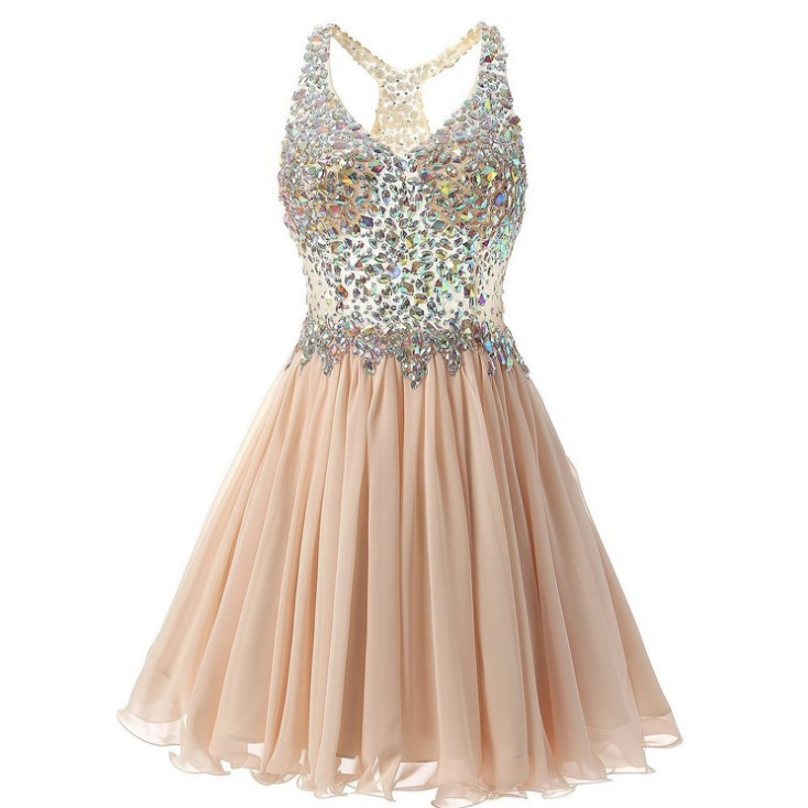 Shiny Short Prom Dresses Pink Sexy Illusion Neck Backless Lace Formal Prom Party Gowns Custom Make Stunning Vestidos de Soriee