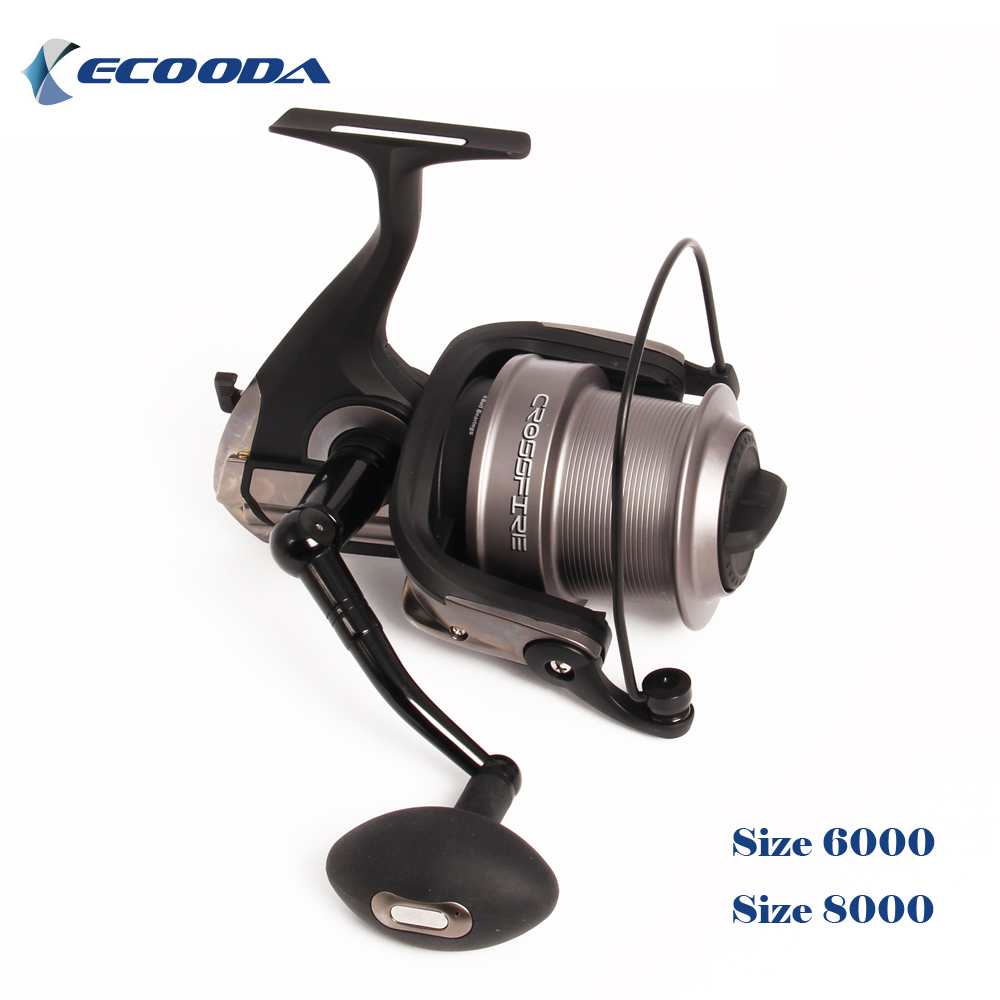 Ecooda ECF Series Sea Fishing Spinning Reel Size 6000 8000 Metal Spool Big Saltwater Catfish Fishing Reel Long Distant Surf Reel free shipping black hawk ecooda second generation metal body spinning reell lure fishing reel fish reel