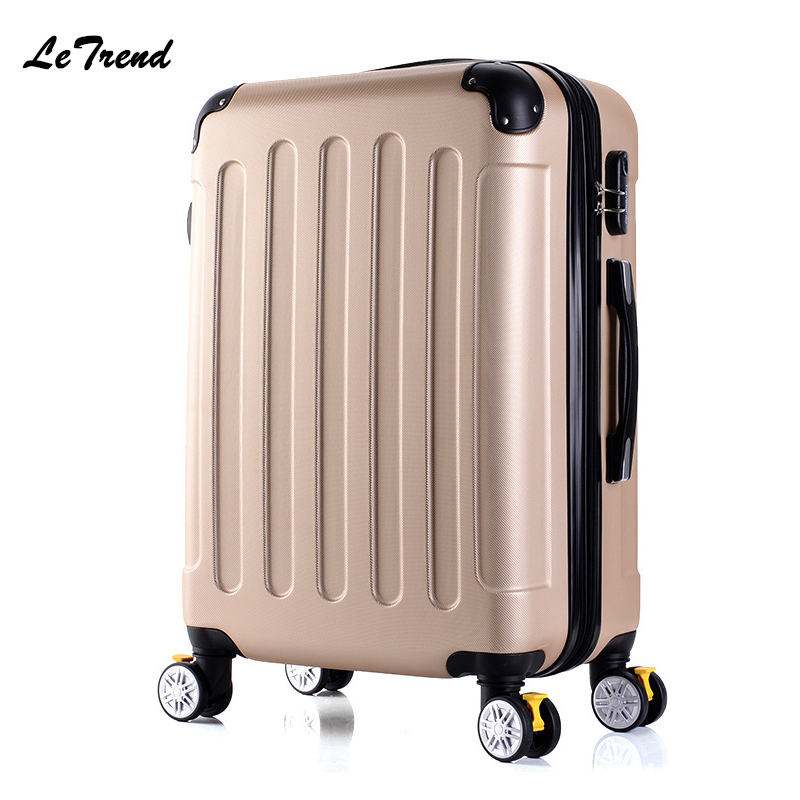 Letrend New Fashion Korean ABS+PC Rolling Luggage Trolley Men Travel Bag 20 inch Boarding Box Women Suitcases 24/28 inch Trunk