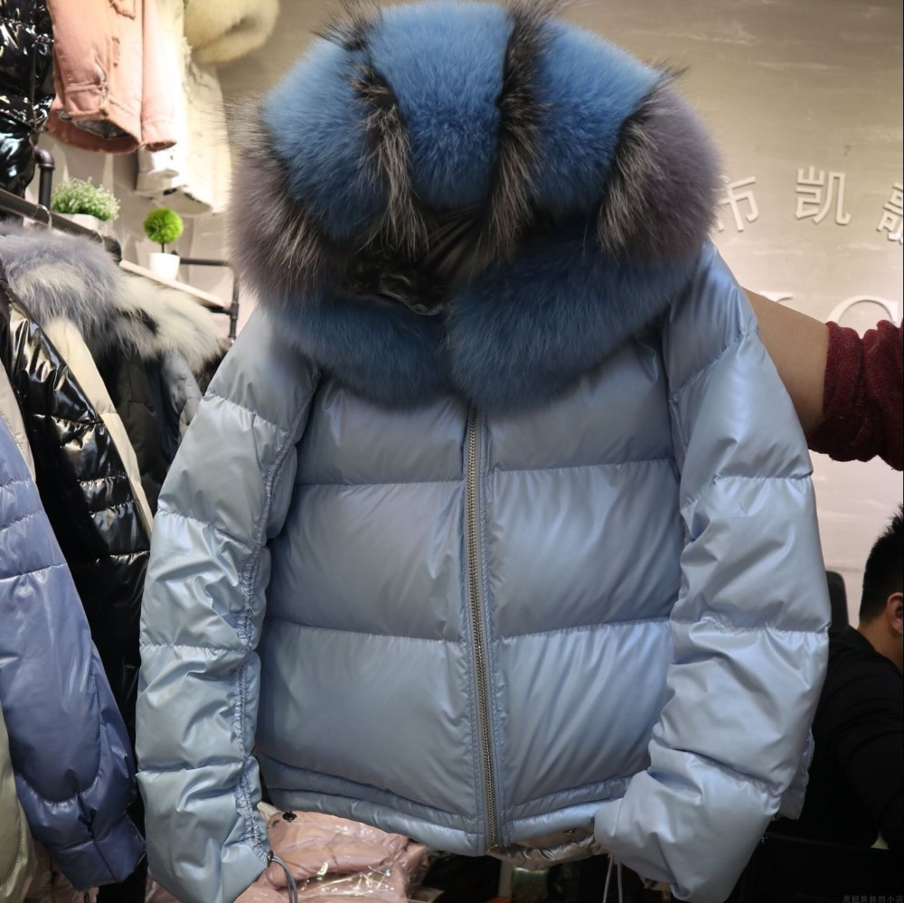Women Winter Jacket Real Fox Fur Hood Down   Parkas   Thick 2018 Plus Size Fashion waterproof bomber Duck Down Jacket Real Fur Coat