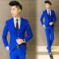 ( Suit jacket + pants ) The new 2016 men's brand of high-grade gorgeous embroidery temperament thin body fashion Blazers suits