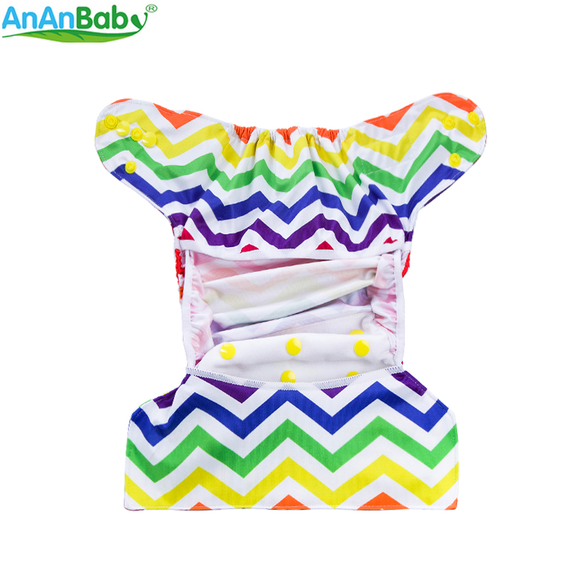 Ananbaby 1PC Adjustable Reusable Cloth Diapers Cover Double Gusset Waterproof PUL Nappy Fit For 3-15kgs