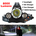 Super bright 4-mode 8000Lm CREE XML T6+2R5 LED Headlight Headlamp Head Lamp Light Flashlight 18650 Torch Camping Fishing