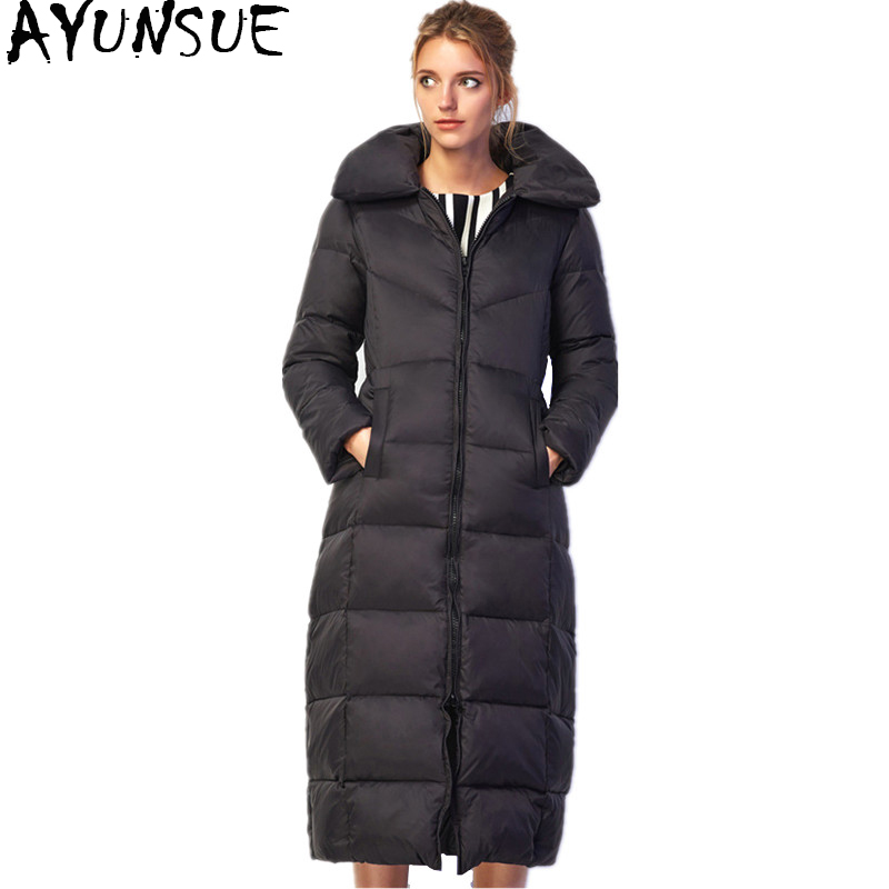 AYUNSUE 2018 Winter Womens Down Jackets And Coats Women High Quality Warm Female Jacket Thickening Long Parka Over Coat WYQ747 womens winter jackets and coats 2017 thick warm women parka women s winter jacket female down cotton anorak cc290