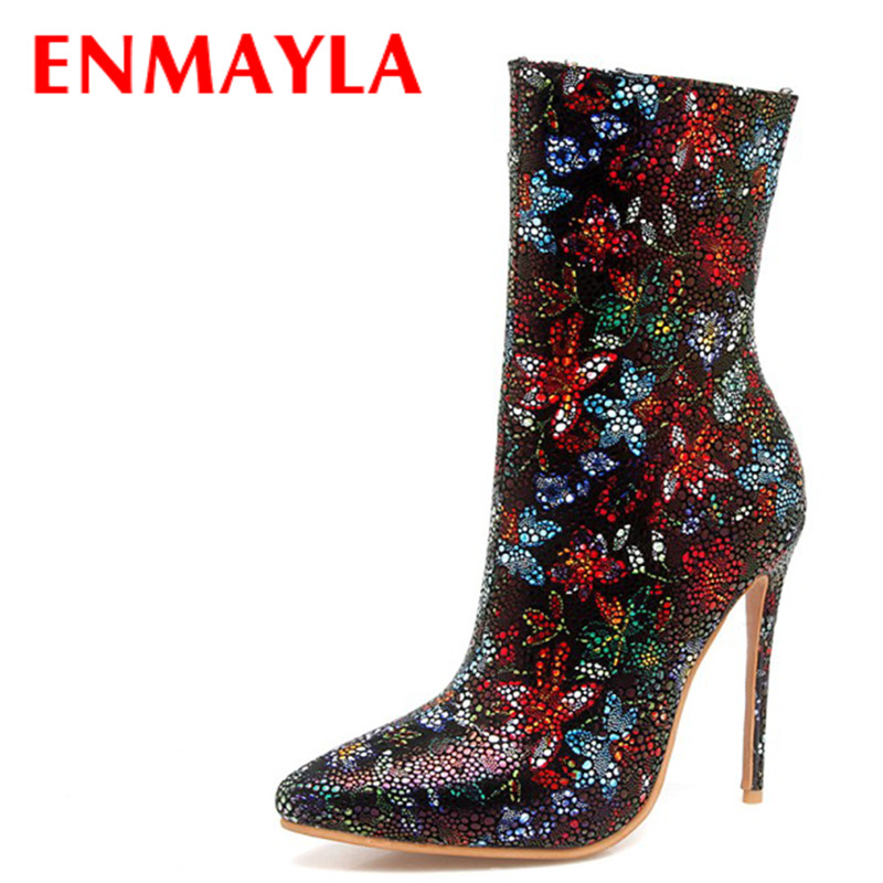 ENMAYLA Women Colorful Bling Stiletto Heels Party Shoes Woman Ankle Boots Ladies Pointed Toe Black Red Gray Wedding Shoes Boots цены онлайн