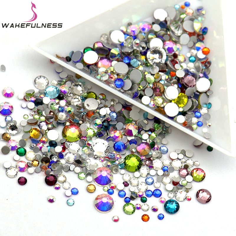 WAKEFULNESS Nail Art Crystal Mix Sizes Colorful Non Hotfix Flatback Glass Rhinestones For Nails 3D Nail Art Decoration Gems wakefulness ab color glass rhinestones crystal mix caviar nail art mini beads sharp bottom gemstones charms 3d nail decorations