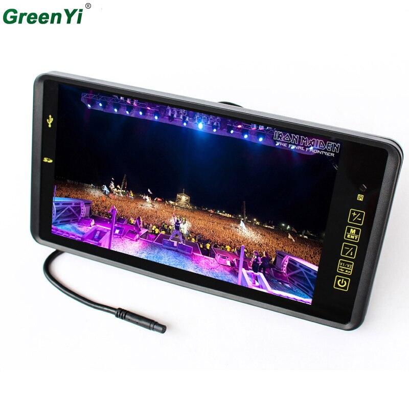 Gros 9 pouce TFT LCD Écran Large Automatique de Stationnement De Voiture de Moniteur de Vue Arrière Avec Bouton Tactile Télécommande, supporte la Carte SD Et USB