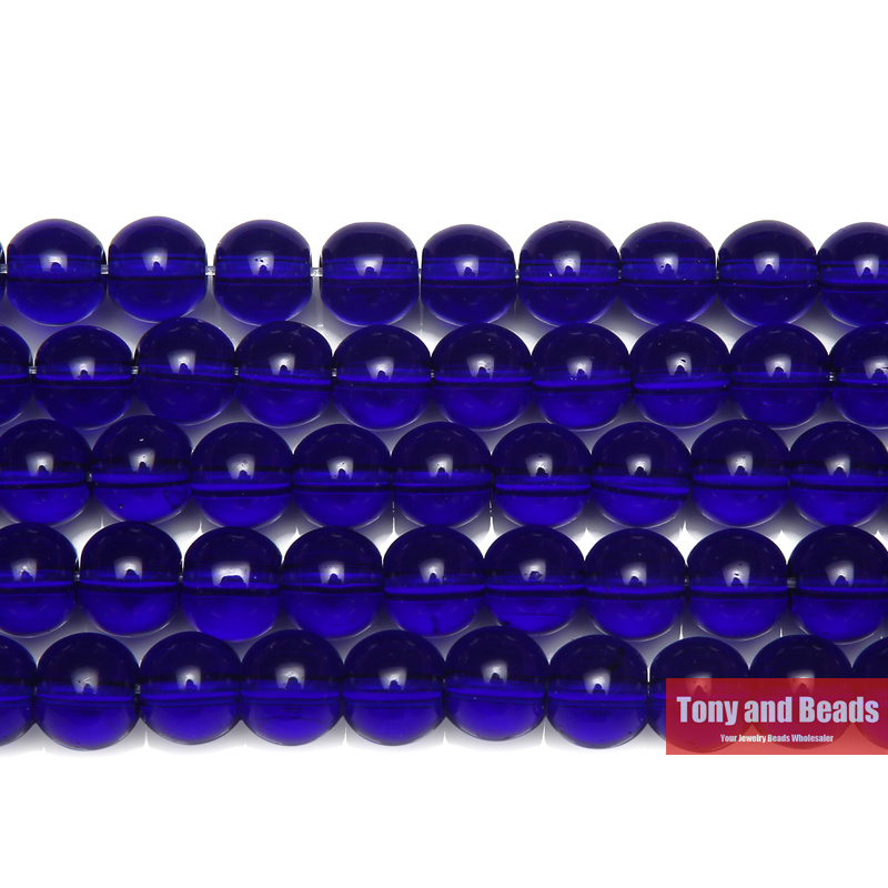 Free Shipping Smooth Blue Glass Loose Beads 15