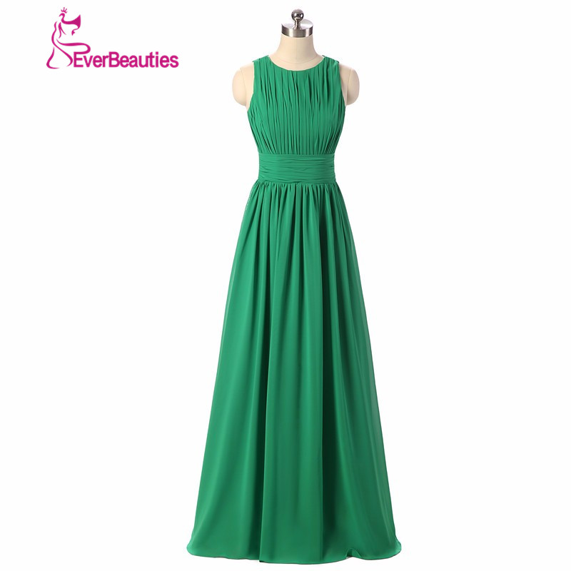 Royal Blå Emerald Green Chiffon Kjole Brudepike Kjoler 2019 Prom Long Royal Blue Brudepike Kjole
