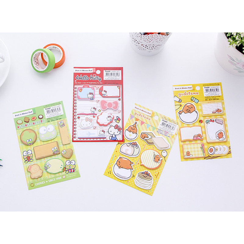 AD03 60 Pages /Pack Kawaii Kitty Egg Frog Memo Pad Sticky Notes School Office Supply Notepad Student Stationery 200 sheets 2 boxes 2 sets vintage kraft paper cards notes notepad filofax memo pads office supplies school office stationery