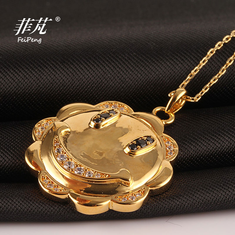 Trendy Fashion Jewelry Smile Sunflower Pendant Necklace Charming Gift with Cubic Zirconia Crystal Stone