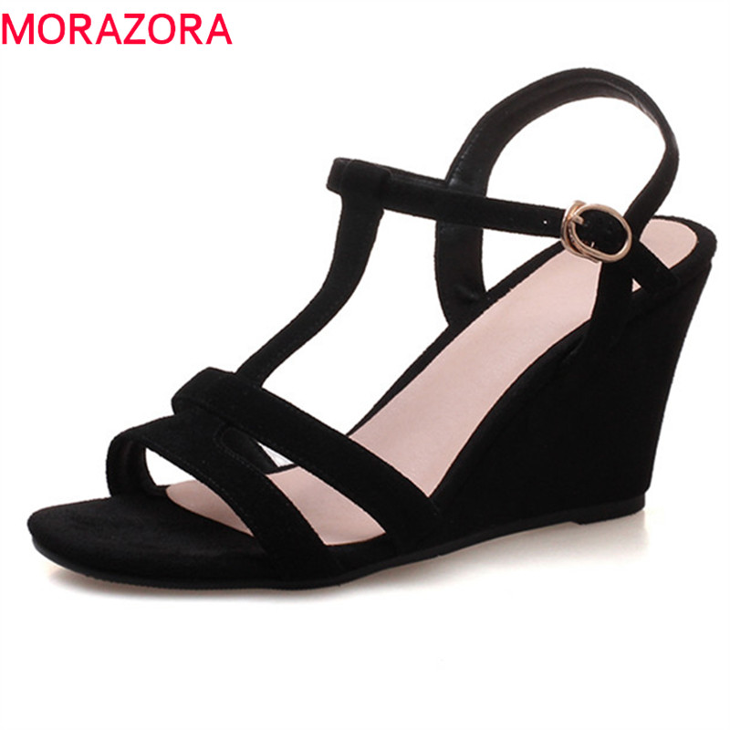 MORAZORA 2020 new genuine leather summer shoes simple buckle sandals women elegant party wedding shoes wedges