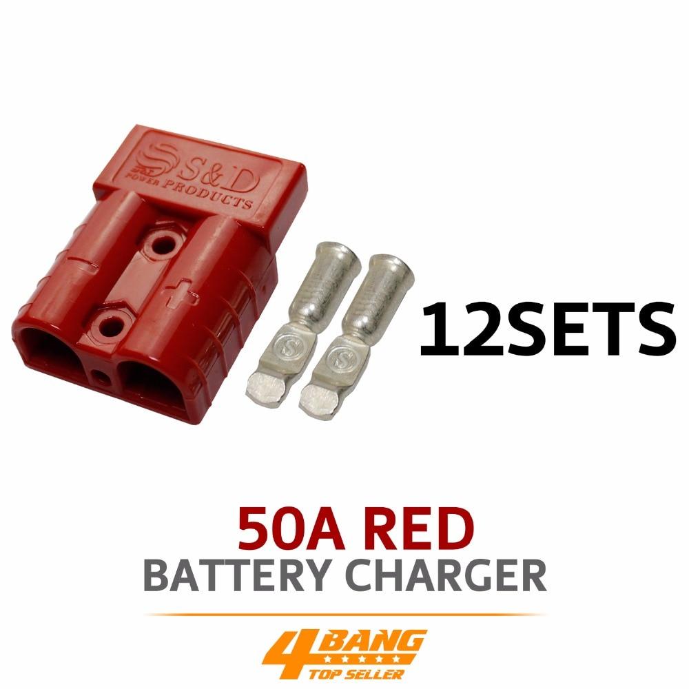 12pcs 50AMP 600V Red Battery font b Exterior b font Wire DC Power Solar Connector Caravan