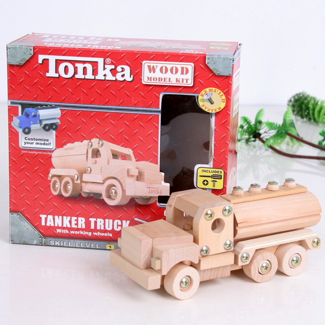 free shipping Wool removable toy car collection car oil tank truck pure wood model car assembly toy educational children kid toy
