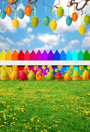 8 ft Vinyl cloth spring Easter flowers eggs field photography backdrops for kids photo studio portrait backgrounds props F-074 custom spring easter day flowers photography background for children photo studio vinyl digital printing cloth backdrops s 461