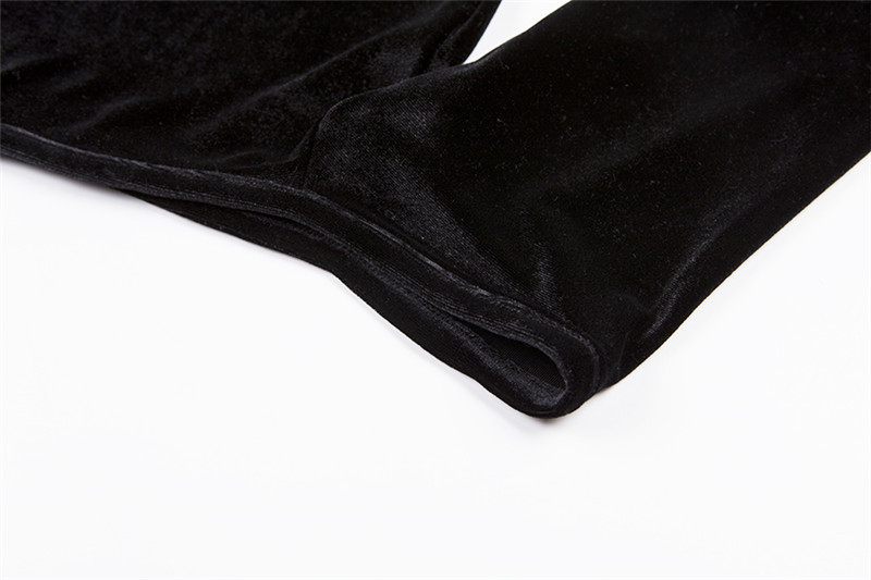 Summer Velvet Dress Women Retro Harajuku Sexy Black Long Sleeve Halter Dress 8