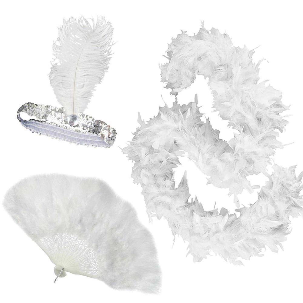Ladies Black Or White Feather Fan Fancy Dress Accessory