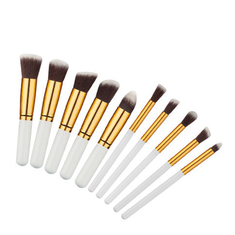 10pcs Natural Hair Eye Makeup Brushes Set Professional Eyeshadow Shadow Brushes Makeup Tool Shader Blending Make Up Brushes Set 9
