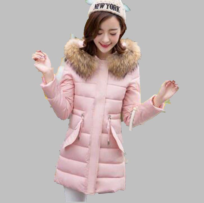 Winter 2016 New Women Thicken Cotton Down Jacket Elegant Pure color Hooded Fur collar Warm Slim