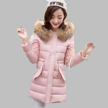 Winter 2016 New Women Thicken Cotton Down Jacket Elegant Pure color Hooded Fur collar Warm Slim Big yards Medium long Coat G0422