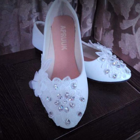 Shinny bling crystal rhinetones white lace wedding shoes woman flat heel or custom make low high