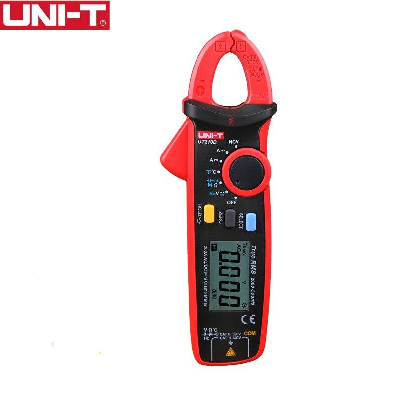 UNI-T UT210D medidor pinza Digital verdadero valor eficaz RMS de tensión de resistencia de la capacitancia multímetro medida temperatura Auto de la gama eléctrica