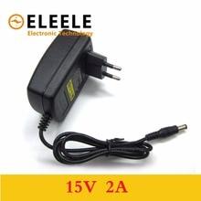 1pcs high quality 15V2A AC 100V-240V Converter Adapter DC 15V 2A 2000mA Power Supply EU Plug 5.5mm x 2.1-2.5mm  PN35