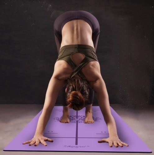 Position Ligne Plus Plus Naturel En Caoutchouc Non-Slip Tapete Suède Yoga Tissu Perdre Du Poids Exercice Tapis de Fitness Tapis De Yoga