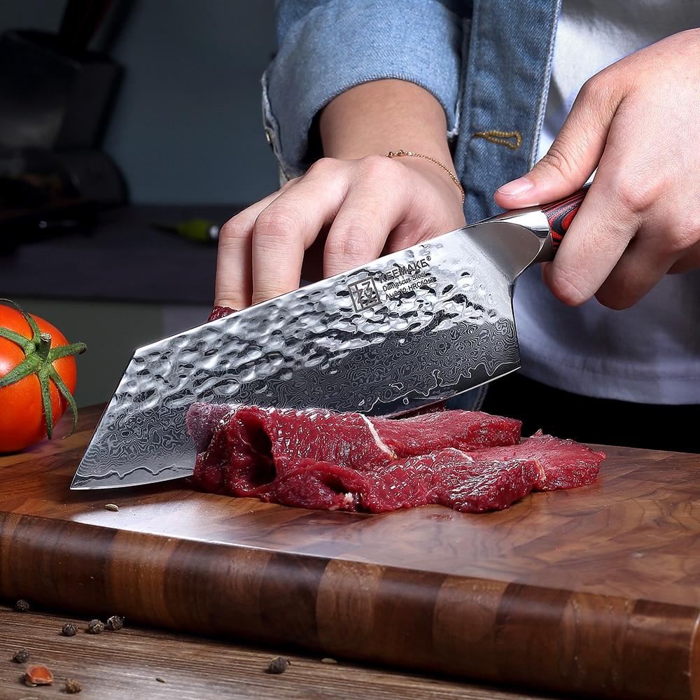 """KEEMAKE 7 """"cal tasak nóż szefa kuchni młotek damaszek AUS 10 60HRC wysokiej jakości stali nierdzewnej G10 uchwyt ostre krajalnica do mięsa nóż w Noże kuchenne od Dom i ogród na  Grupa 2"""