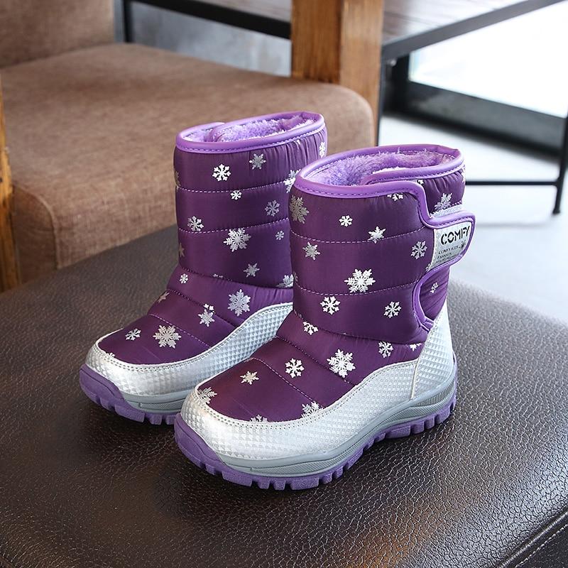 SKHEK Winter Platform Boys Boots Children Rubber anti slip Snow Boots Shoes for girl big Kids Waterproof Warm Winter Shoes Botas Boots     - title=