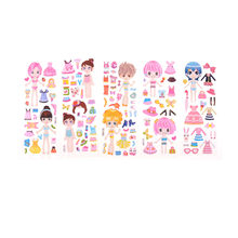 2018 New 5 sheets Kids Dress Up Stickers Cartoon Beauty Dress Up Little Girl Love PVC Stickers Birthday Party Game toys gifts(China)