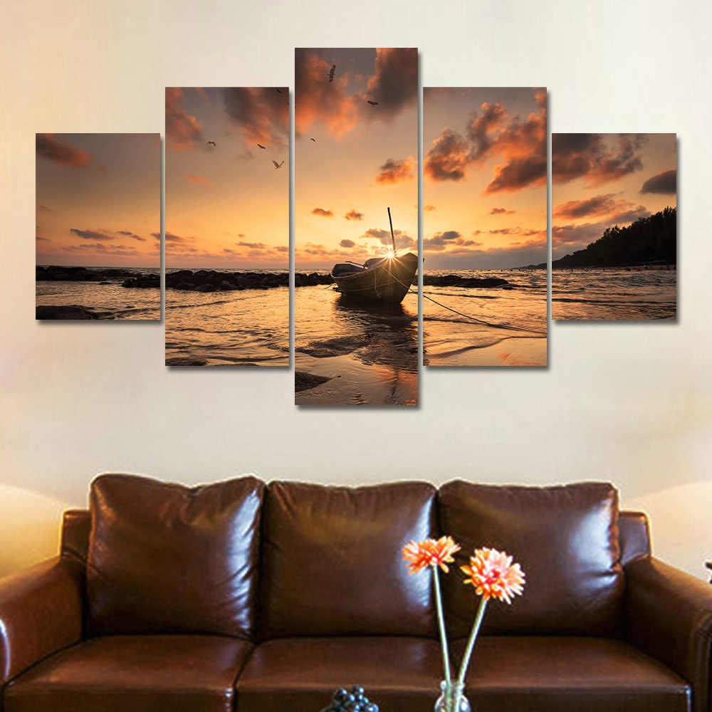 Frame HD Printed Modern Canvas Living Room 5 Panel Boat Sunset Sea View Pictures Painting Wall Art Modular Poster Home Decor