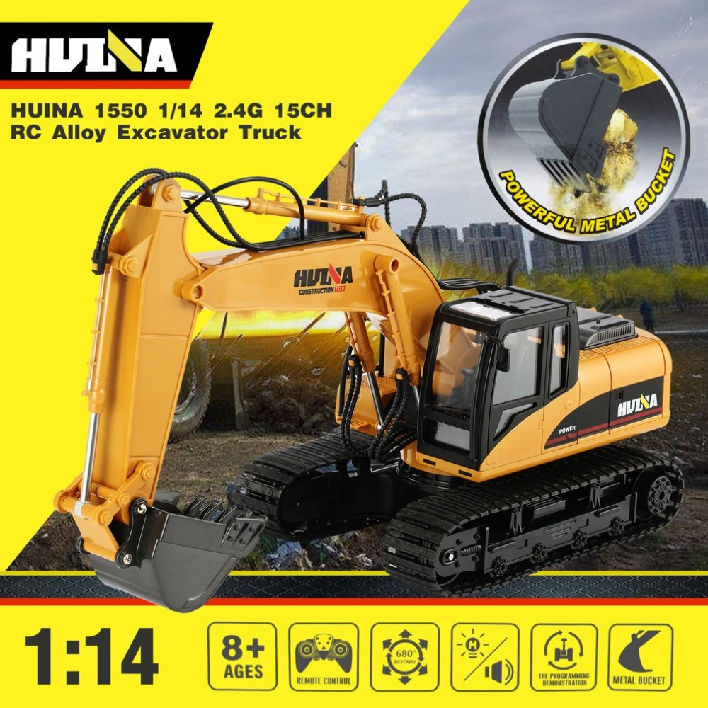 HUINA 1550 RC Excavator 680 Degree Rotation Alloy Bucket  1/14 15CH Construction Vehicle Toy Gift With Cool Sound/Light Effect